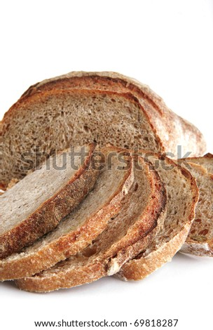 bread slices with chunk over white background . shallow dof - stock photo