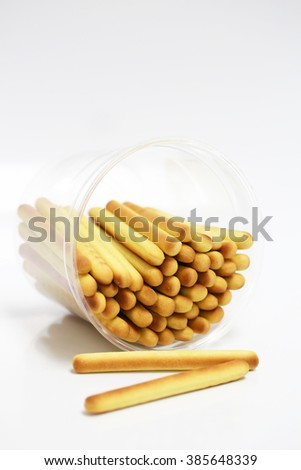 Bread sticks, isolated on a white background - stock photo