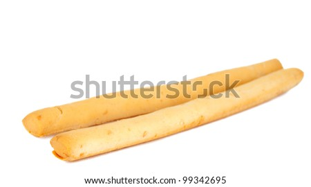 bread sticks on a white background