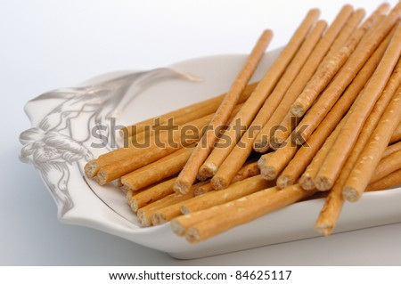 Bread sticks on plate. National food in Ukraine. - stock photo