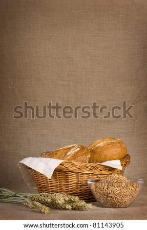 Bread still-life with copy space