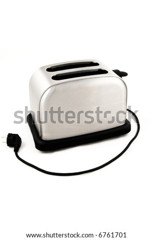Bread toaster isolated on white with electric cable and plug - stock photo
