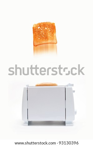 Bread Toasting device over a white background, toasted bread popping out of the device - stock photo