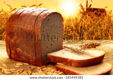 bread with background of corn field