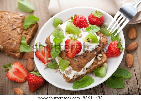 bread with cottage cheese and berries - stock photo