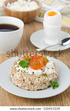bread with cottage cheese, cherry tomatoes, boiled egg and coffee