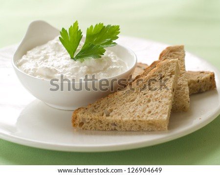Bread with cottage cheese  dip, selective focus
