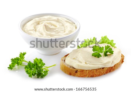 bread with cream cheese isolated on white background - stock photo