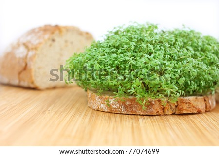 bread with cress - stock photo