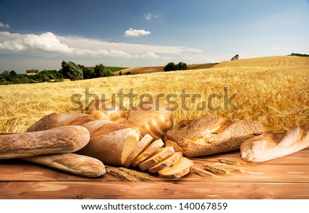 bread with ears on the wooden table