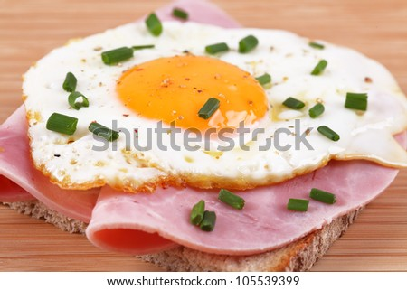 bread with fried egg and ham - stock photo