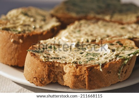 bread with garlic butter, homemade food