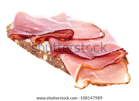 Bread with ham isolated on white background with clipping paths