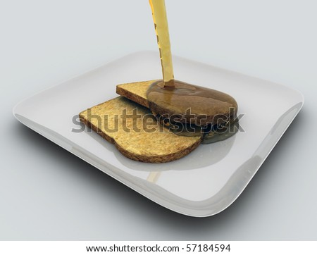 bread with honey - stock photo