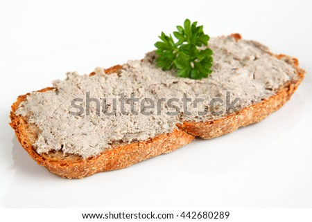 bread with liver sausage - stock photo