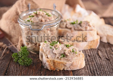 bread with meat spread - stock photo