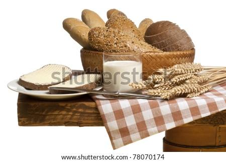 bread with milk - stock photo