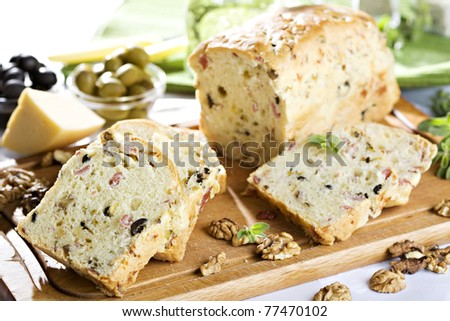bread with nuts and raisins - stock photo
