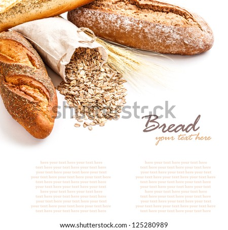 Bread with oat flakes on white