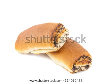 bread with poppy seeds isolated on white background