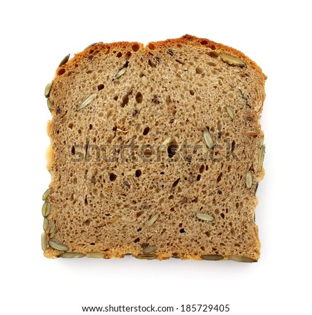 bread with seeds isolated on white background