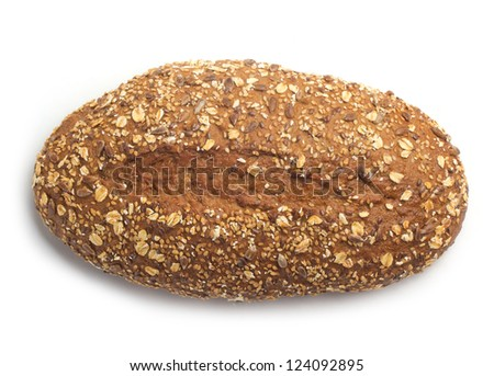 bread with seeds on white top view - stock photo