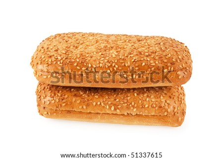 Bread with sesame isolated on white background