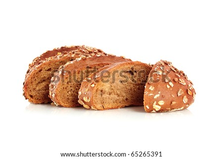 Bread with sunflower seeds isolated on white - stock photo