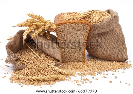 Bread with wheat and ears - stock photo