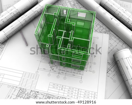Breadboard model of a building made under drawings - stock photo