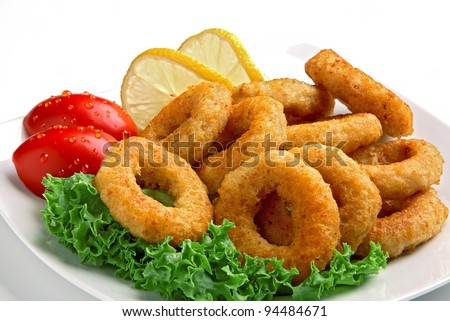 breaded calamari rings deep fried - stock photo