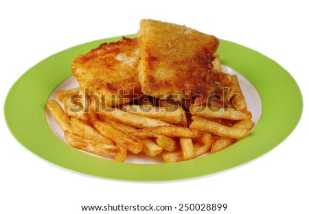 Breaded fried fish fillet and potatoes on plate isolated on white - stock photo