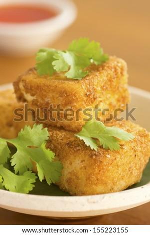 Breaded Fried Silken Tofu w Chili Oil in Background Non sharpen - stock photo