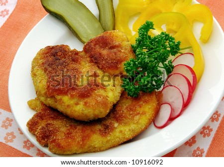 Breaded meat steak - stock photo