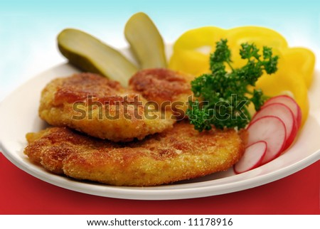 Breaded steaks - stock photo