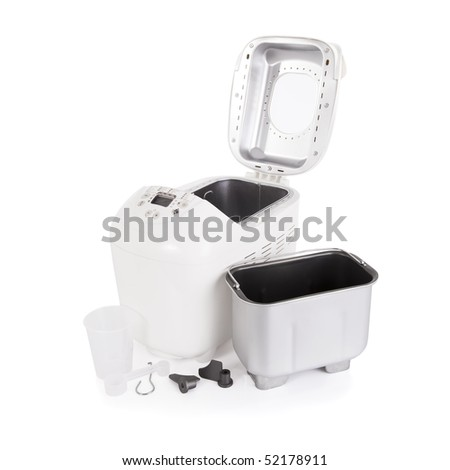 Breadmaker and accessories isolated on a white background - stock photo