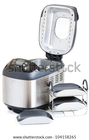 Breadmaker machine and accessories isolated on a white background