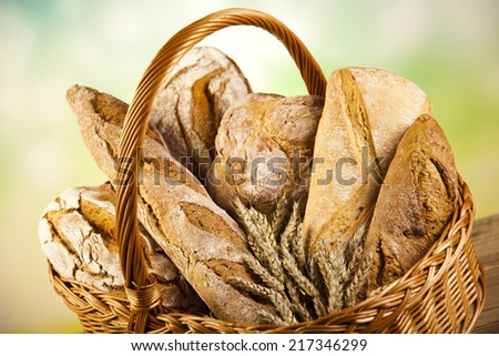 Breads in basket   - stock photo