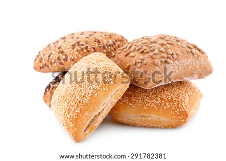 Breads with different seeds isolated on white background. - stock photo