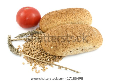 breads with tomato isolated on white