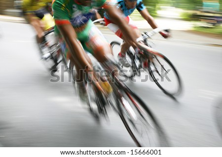 Break away in the bicycle race Around Denmark 2008 - stock photo