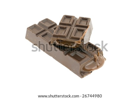 break bar of chocolate isolated on a white background
