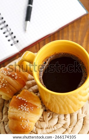 break breakfast with croissants and coffee - stock photo