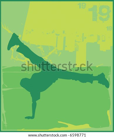 Break Dance Green - stock photo