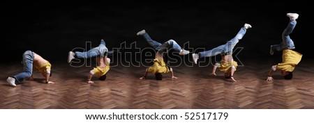 Break dance trick sequence - stock photo