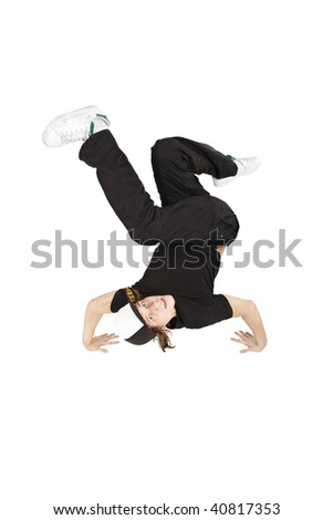 break-dancer smiling - stock photo