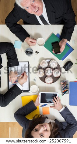 Break for dessert during business appointment - stock photo