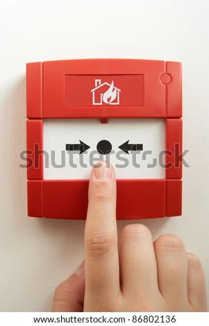 Break-glass fire alarm - stock photo