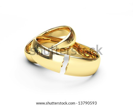 break gold wedding rings - stock photo