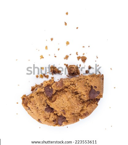 Break up cookies with chocolate pieces isolated on white - stock photo